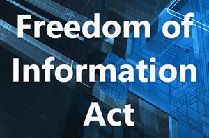 Freedom of Information text overlaying a technology background