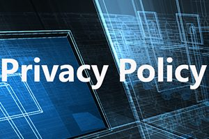 Privacy Policy text overlaying a technology background